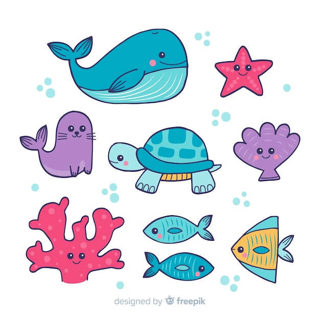 Collection d'animaux marins dessinés à la main Vecteur gratuit