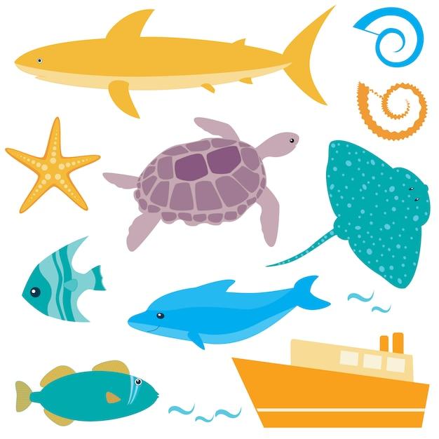Collection D'animaux Marins Vecteur Premium