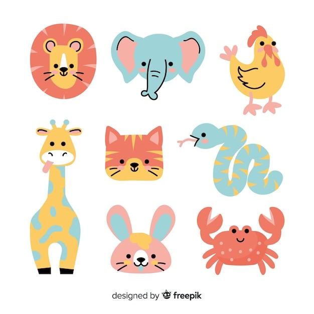 Collection d'animaux mignons colorés Vecteur gratuit