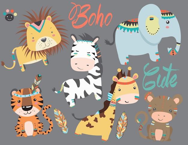 Collection D'animaux Mignons Dans Un Style Boho. Vecteur Premium