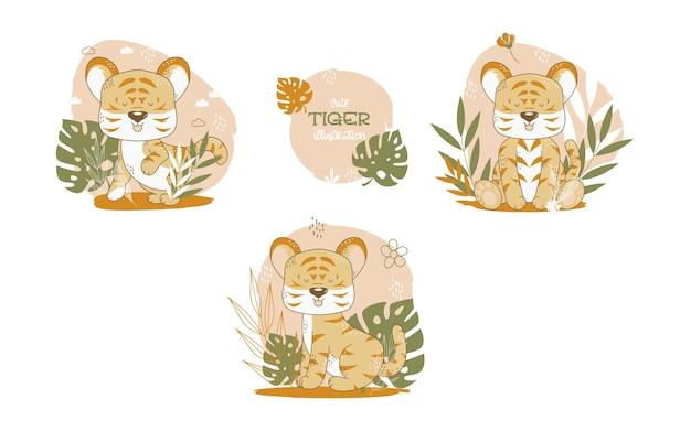 Collection D'animaux Mignons De Dessin Animé De Tigres. Illustration Vectorielle. Vecteur gratuit