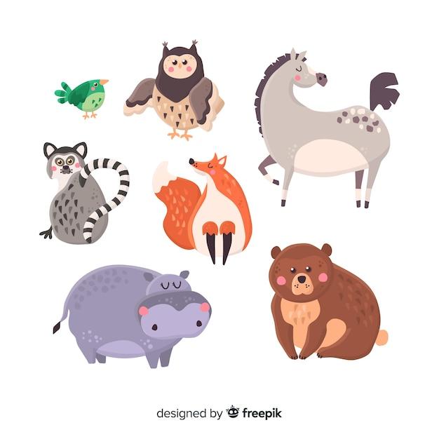 Collection d'animaux mignons dessinés à la main Vecteur gratuit