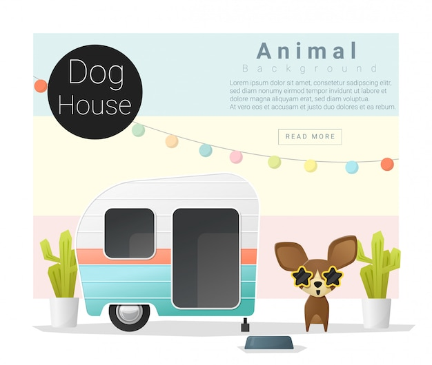 Collection d'animaux mignons dog house Vecteur Premium