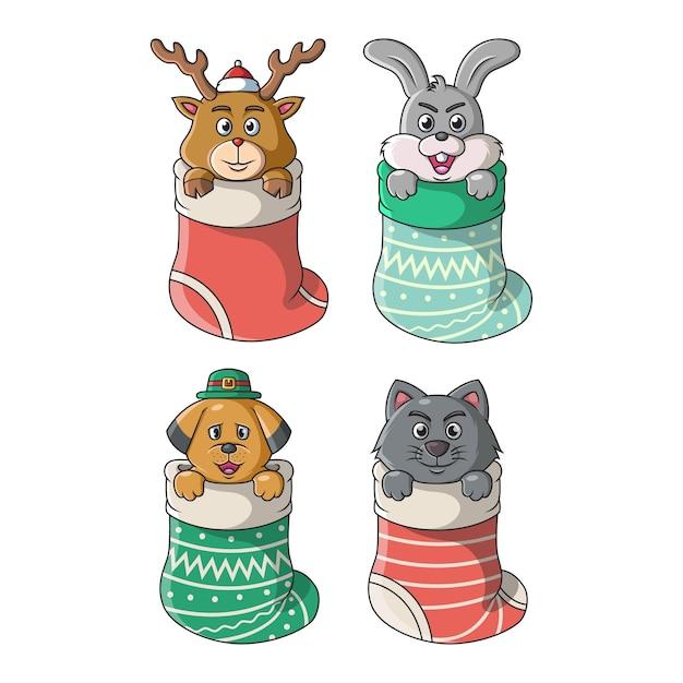 La Collection D'animaux Mignons En Grande Chaussette à Noël Et En Hiver Vecteur Premium