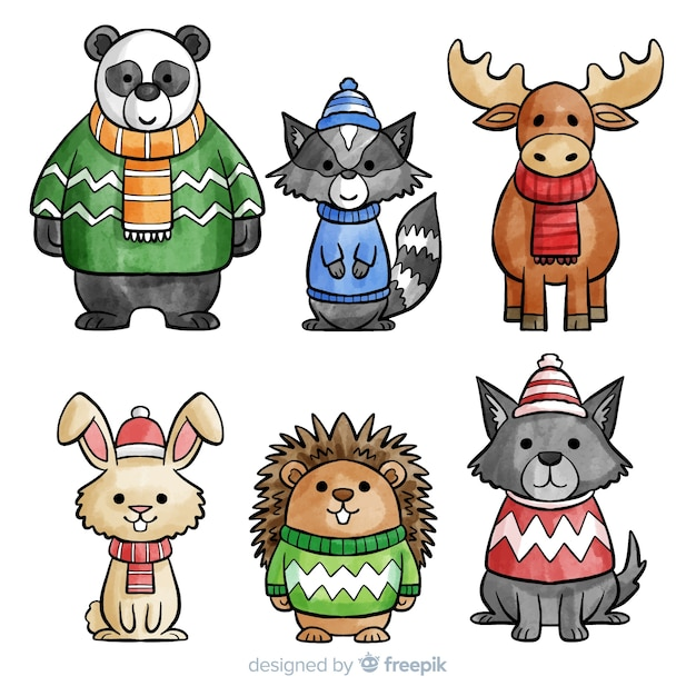 Collection d'animaux mignons d'hiver Vecteur gratuit