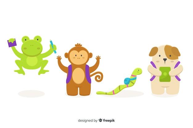 Collection D'animaux Mignons Illustrés à L'école Vecteur gratuit