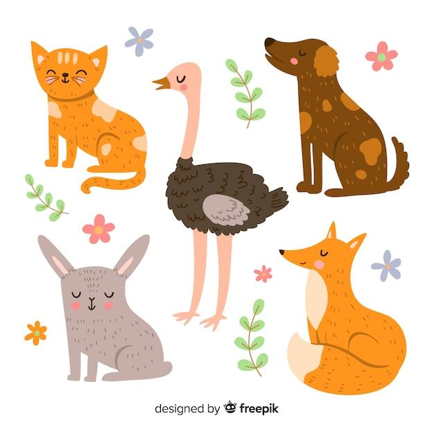 Collection d'animaux mignons illustrés Vecteur gratuit