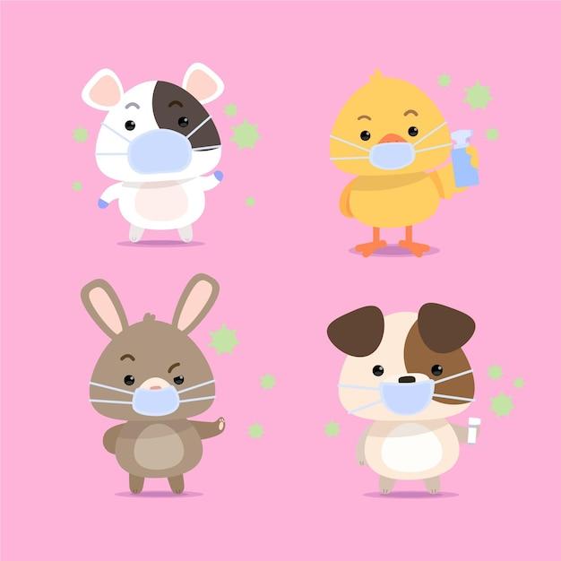 Collection D'animaux Mignons Avec Des Masques Médicaux Vecteur gratuit