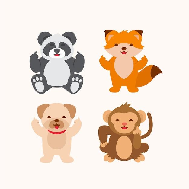 Collection D'animaux Mignons Montrant Le Majeur Vecteur gratuit