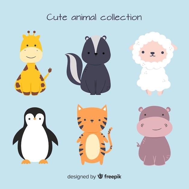 Collection D'animaux Mignons Avec Des Moutons Vecteur gratuit