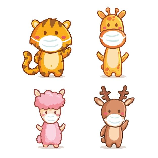 Collection D'animaux Mignons Portant Des Masques Médicaux Vecteur gratuit