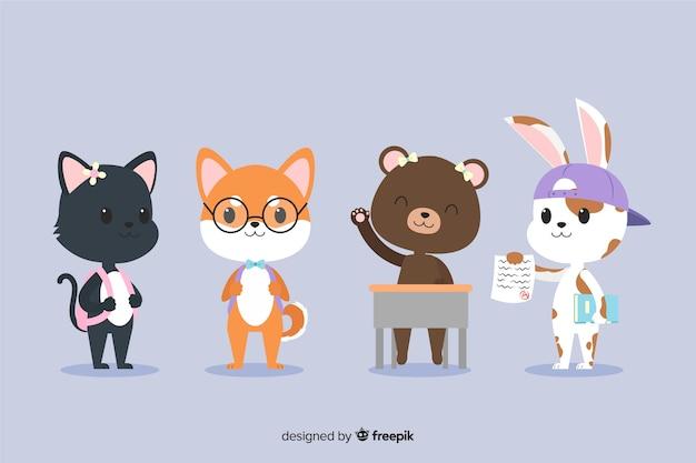 Collection D'animaux Mignons Prêts à étudier Vecteur gratuit