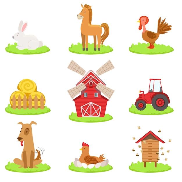 Collection D'animaux Et D'objets Associés à La Ferme Vecteur Premium