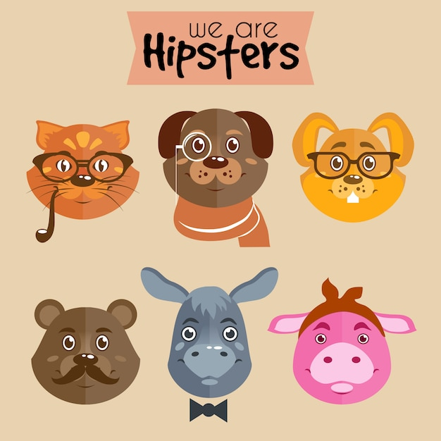 Collection d'animaux de personnage de dessin animé hipster Vecteur gratuit
