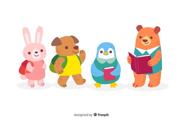Collection d'animaux pour la rentrée des classes Vecteur gratuit