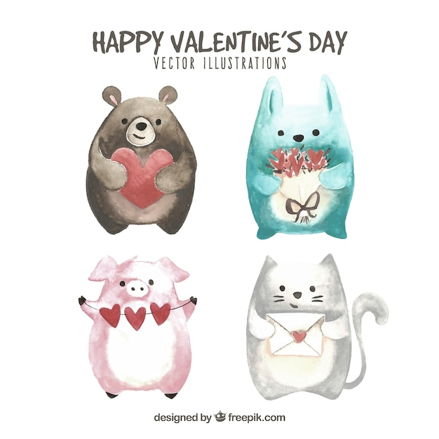 Collection d'animaux saint-valentin dessinés à la main Vecteur gratuit