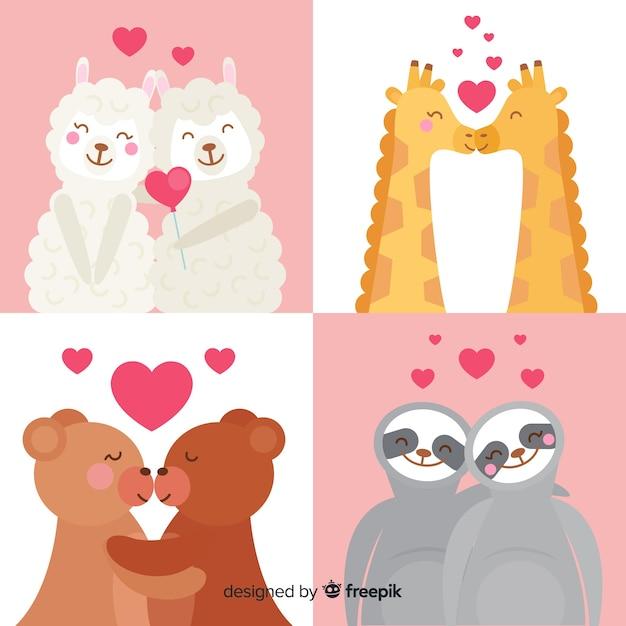 Collection d'animaux de la saint-valentin dessinés à la main Vecteur gratuit