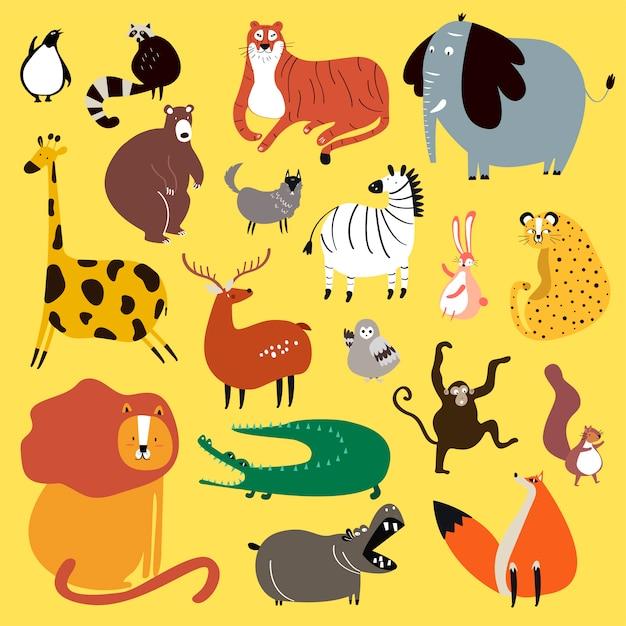 Collection d'animaux sauvages mignons en vecteur de style dessin animé Vecteur gratuit