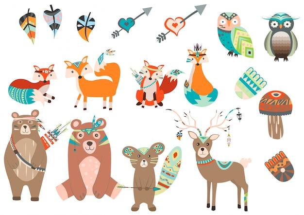 Collection d'animaux avec style boho Vecteur Premium