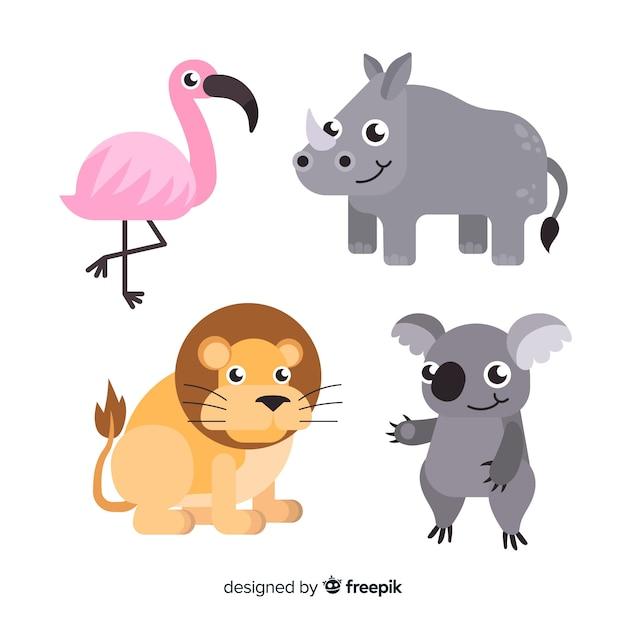 Collection d'animaux tropicaux dessinés à la main Vecteur gratuit