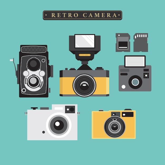 Collection de l'appareil photo rétro Vecteur gratuit
