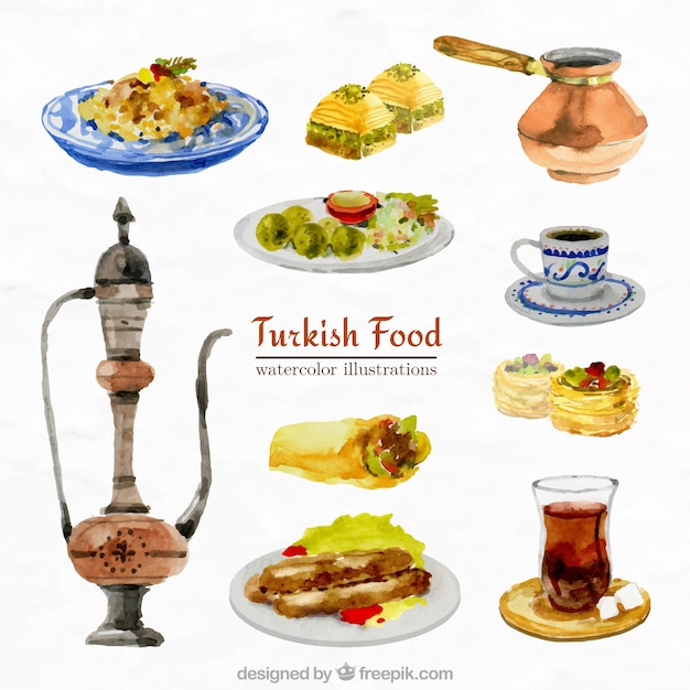 Collection De L'aquarelle Alimentaire Arabe Vecteur gratuit