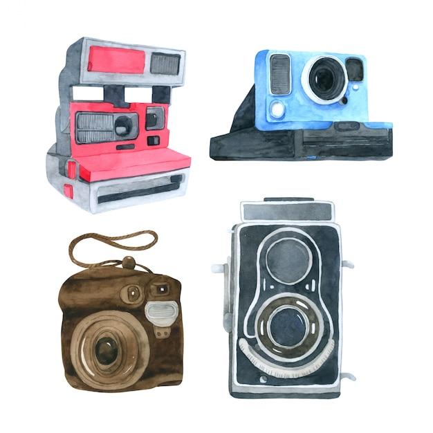 Collection aquarelle de caméra sur fond blanc Vecteur Premium