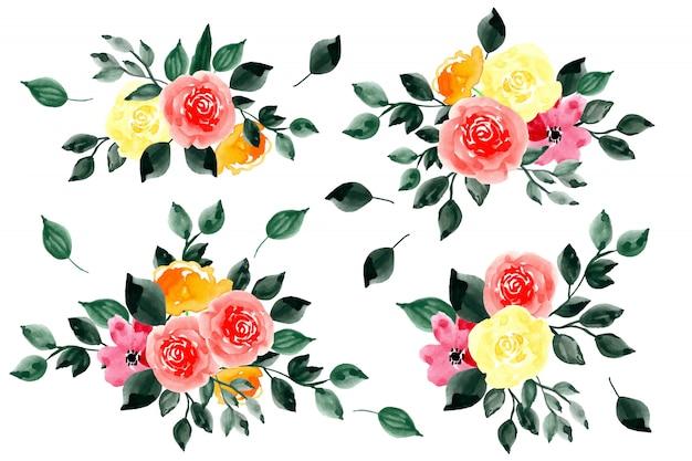 Collection aquarelle de feuilles vertes et arrangement de fleurs Vecteur Premium