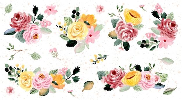 Collection aquarelle de jolie composition florale Vecteur Premium