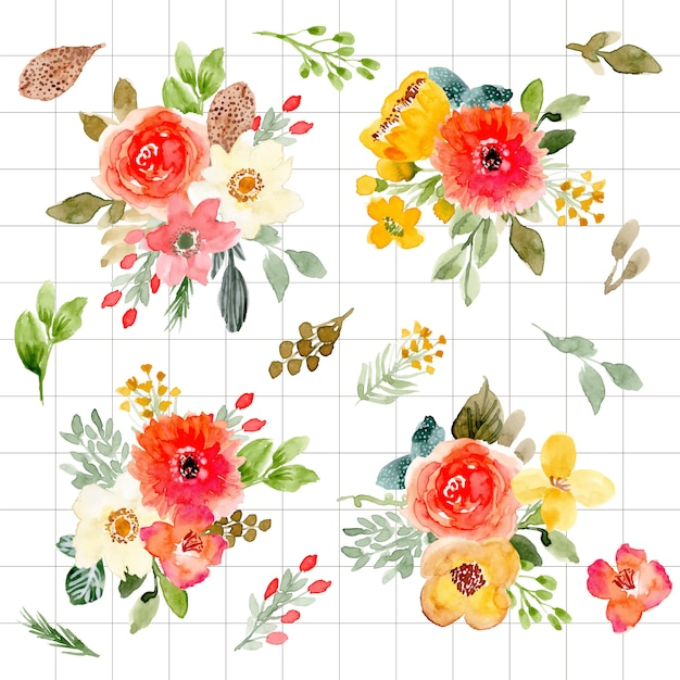 Collection aquarelle magnifique arrangement floral Vecteur Premium