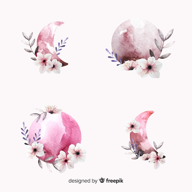Collection Aquarelle Moon Dans Les Tons Roses Vecteur gratuit