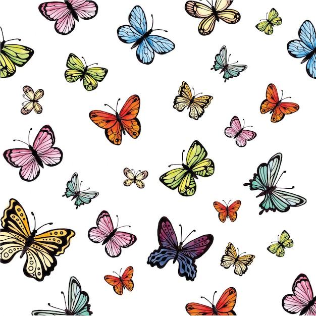 Collection aquarelle de papillons colorés Vecteur gratuit
