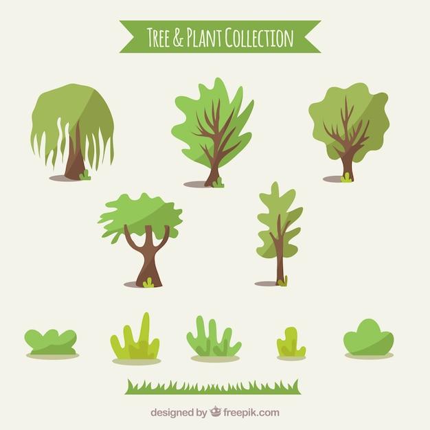 Collection D'arbres Et D'arbustes Vecteur gratuit