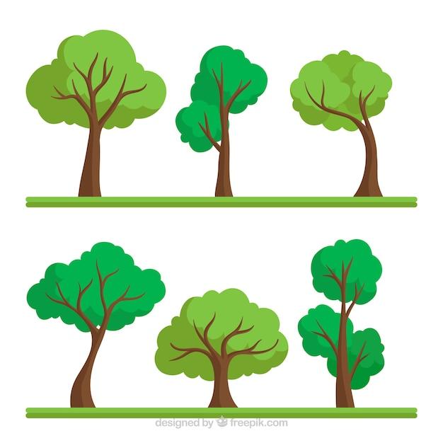 Collection D'arbres Dans Le Style Plat Vecteur gratuit