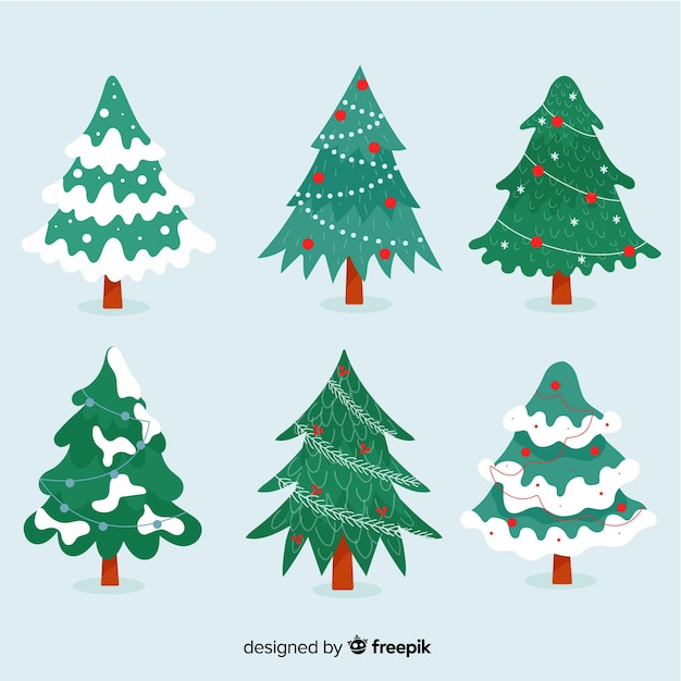 Collection D'arbres De Noël Design Plat Vecteur gratuit