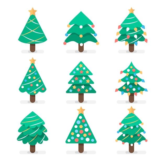 Collection D'arbres De Noël Design Plat Vecteur Premium