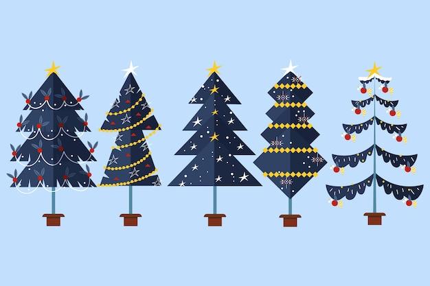 Collection D'arbres De Noël Design Plat Vecteur gratuit