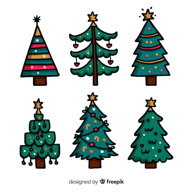 Collection D'arbres De Noël Dessinés à La Main Sur Fond Blanc Vecteur gratuit