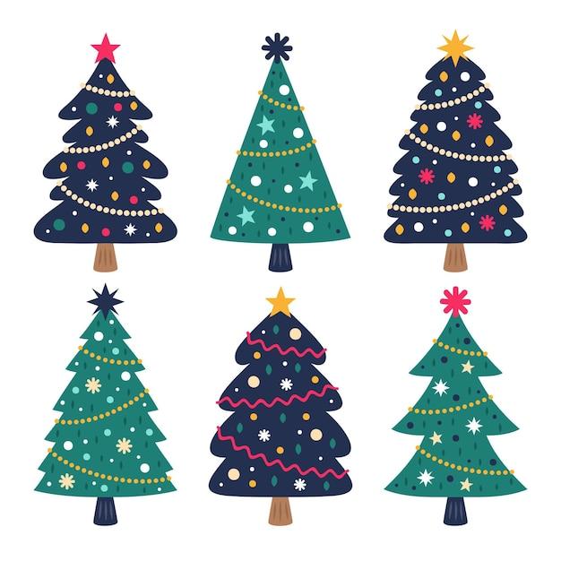Collection D'arbres De Noël Dessinés à La Main Vecteur gratuit