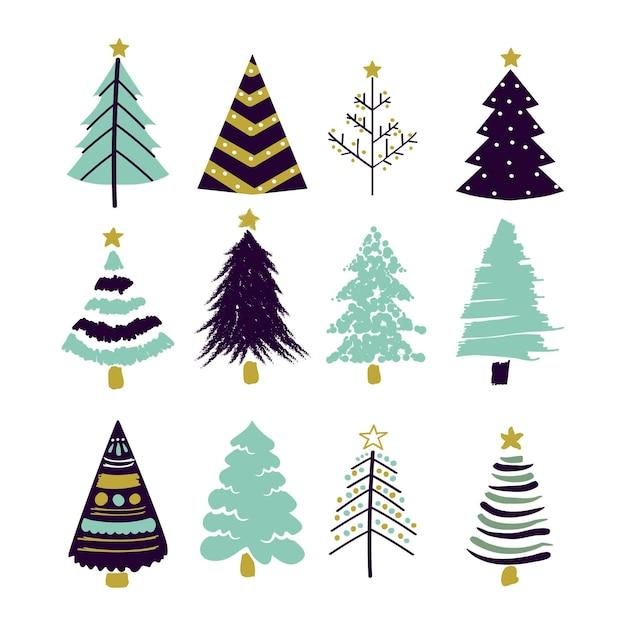Collection D'arbres De Noël Dessinés à La Main Vecteur Premium