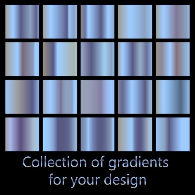Collection D'arrière-plans Dégradés Bleus. Ensemble De Textures Métalliques Bleues. Vecteur Premium