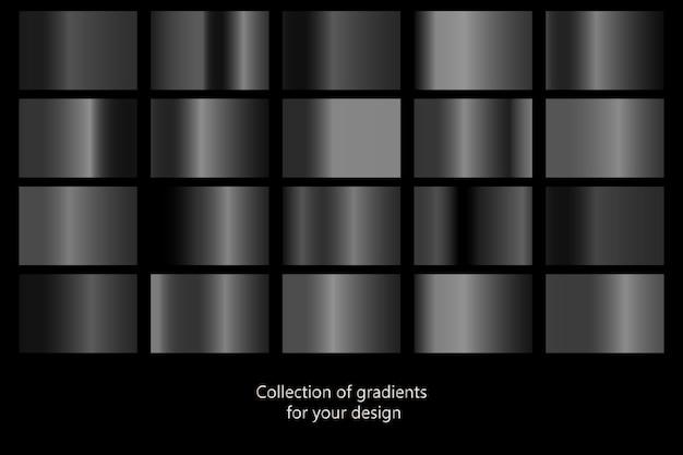 Collection D'arrière-plans Dégradés Noirs. Vecteur Premium