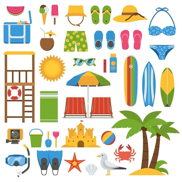 Collection D'articles De Plage D'été. Jeu D'icônes De Vecteur De Vacances Mer Summertime. Vecteur Premium