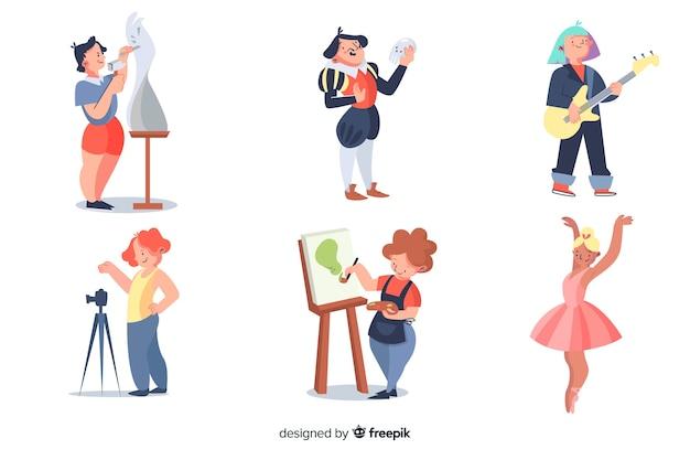 Collection d'artistes au travail Vecteur gratuit