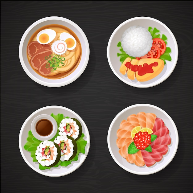 Collection d'assiettes japonaises asiatiques Vecteur Premium