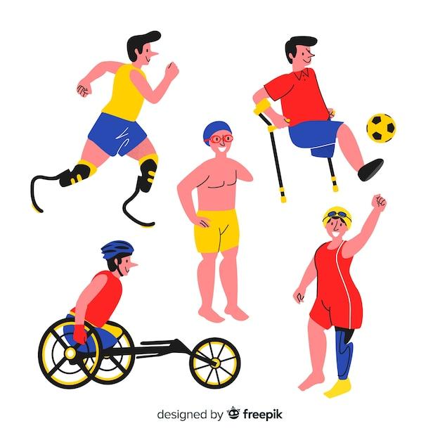 Collection D'athlètes Handicapés Dessinés à La Main Vecteur gratuit