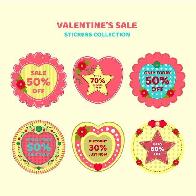 Collection autocollant de vente de valentine Vecteur Premium