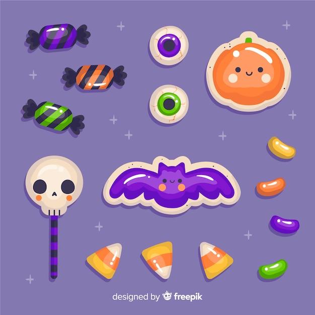 Collection D'autocollants De Bonbons Halloween Dessinés à La Main Vecteur gratuit