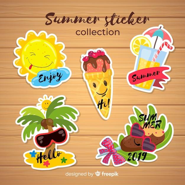 Collection d'autocollants colorés de l'été Vecteur gratuit