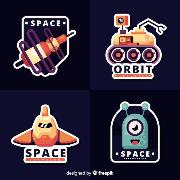 Collection d'autocollants de l'espace mignon Vecteur gratuit